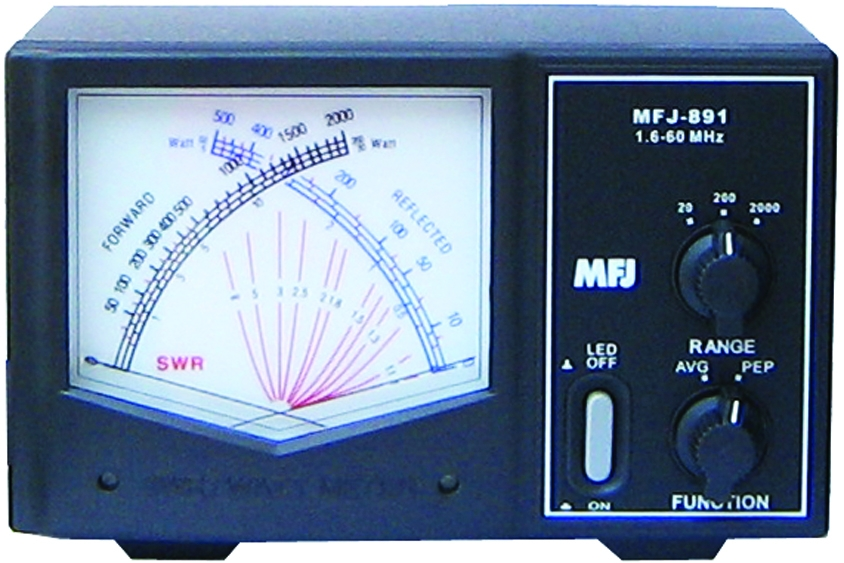 MFJ MFJ891 GIANT CROSS-NEEDLE WATT METER 1 6-60MHz, 2kW